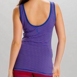 Lole Purple Striped Twist Tank Top Side Ruched M